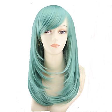 Syntetiske parykker Rett Asymmetrisk frisyre Syntetisk hår Naturlig hårlinje Grønn Parykk Dame Medium Lengde / Mellemlængde Lokkløs Grønn
