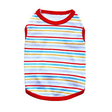 Katze Hund T-shirt Hundekleidung Streifen Schwarz Orange Rot Grün Blau Baumwolle Kostüm Für Haustiere Herrn Damen Modisch