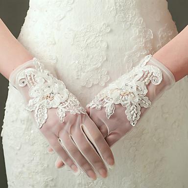 Nejlon Elasztikus szatén Csukló Kesztyű Menyasszonyi kesztyűk Estélyi kesztyűk With Gyöngydíszítés Rátétek