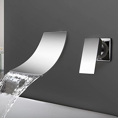 Nykyaikainen Seinäasennus Vesiputous Keraaminen venttiili Kaksi reikää Yksi kahva kaksi reikää Kromi , Kylpyhuone Sink hana