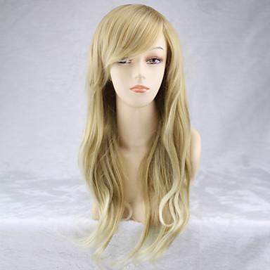 Syntetiske parykker Krøllet / Naturlige bølger Blond Asymmetrisk frisyre Syntetisk hår Naturlig hårlinje Blond Parykk Dame Lang Lokkløs Blond