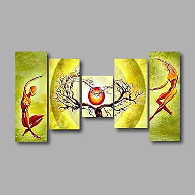 Handgemalte Abstrakt / Cartoon DesignModern Fünf Panele Leinwand Hang-Ölgemälde For Haus Dekoration