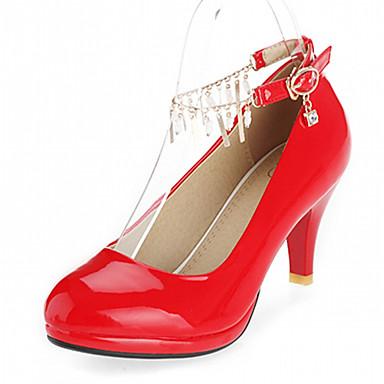 Damen Mädchen Schuhe Kunstleder Frühling Sommer Herbst Stöckelabsatz Quaste Für Kleid Schwarz Rot Rosa Mandelfarben