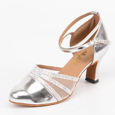 Mulheres Sapatos de Dança Moderna Courino Sandália / Salto Presilha Salto Personalizado Personalizável Sapatos de Dança Prateado