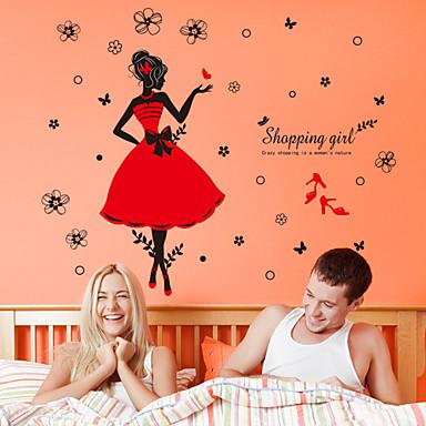 רומנטיקה אופנה מדבקות קיר מדבקות קיר מטוס מדבקות קיר דקורטיביות חוֹמֶר ניתן להסרה קישוט הבית מדבקות קיר