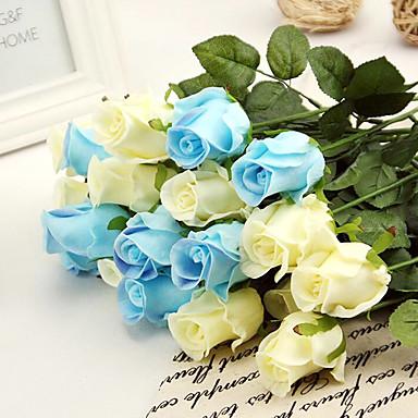 1 ענף משי PU ורדים פרחים לשולחן פרחים מלאכותיים