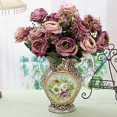 1pcs Ast Polyester Rosen Tisch-Blumen Künstliche Blumen Haus Dekoration Hochzeitsblumen