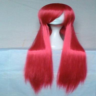 세련된 빨간색 코스프레 가발 18인치 긴 직선 합성 머리 가발 애니메이션 소녀의 만화 파티 가발 가발