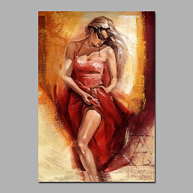 Maalattu Ihmiset / NudeModerni 1 paneeli Kanvas Hang-Painted öljymaalaus For Kodinsisustus
