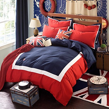 Bettbezug-Sets Neuheit 4 Stück Baumwolle Reaktivdruck Baumwolle 1 Stk. Bettdeckenbezug 2 Stk. Kissenbezüge 1 Stk. Betttuch
