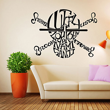 Words & Quotes / Fashion English Alphabet Skull Wall Decals