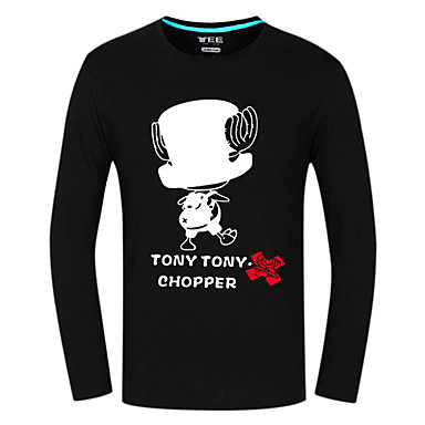 Inspirado por One Piece Tony Tony Chopper Anime Fantasias de Cosplay Tops Cosplay / Bottoms Estampado Manga Longa Blusa Para Unisexo