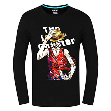 Inspiriert von One Piece Monkey D. Luffy Anime Cosplay Kostüme Cosplay Tops / Bottoms Druck Langarm Top Für Unisex