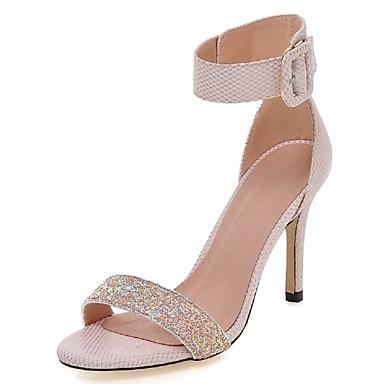 Damen Schuhe Glanz Frühling Sommer Knöchelriemen Stöckelabsatz Schnalle für Hochzeit Kleid Party & Festivität Weiß Grau Rosa