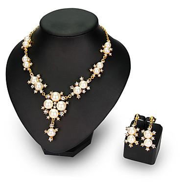 Party / Büro-Damen-Halskette / Ohrring(Vergoldet / Legierung / Strass / Kunst-Perlen)