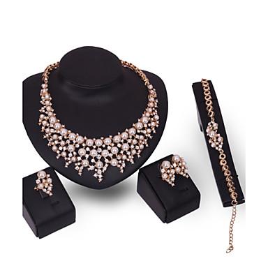 Mulheres Gema Imitação de Pérola Imitação de Pérola Strass Conjunto de jóias Anéis 1 Colar 1 Par de Brincos 1 Bracelete - Personalizada