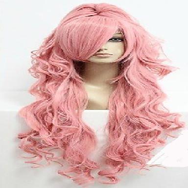Συνθετικές Περούκες / Περούκες Στολών Κυματιστό Κούρεμα με φιλάρισμα / Με αφέλειες / Με αλογοουρά Συνθετικά μαλλιά Στη μέση Ροζ Περούκα