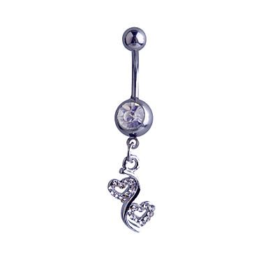 Navel Ring / Belly Piercing - Sølv, Fuskediamant Hjerte, Kjærlighed Luksus Dame Sølv Kroppsmykker Til Fest / Daglig / Avslappet