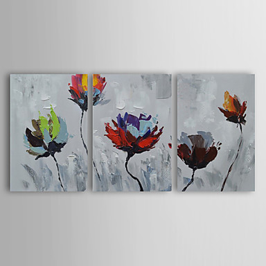 Handgemalte Blumenmuster/Botanisch Horizontal, Modern Segeltuch Hang-Ölgemälde Haus Dekoration Drei Paneele