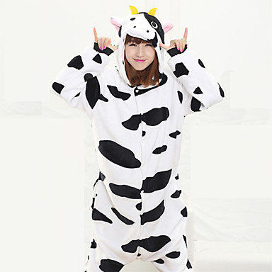 Kigurumi Pajamas Milk Cow Onesie Pajamas Costume Coral fleece Black Cosplay For Adults' Animal Sleepwear Cartoon Halloween Festival /