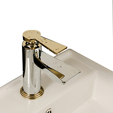 Art Deco/Retro Pöytäasennus Keraaminen venttiili Yksi reikä Yksi kahva yksi reikä Kromi , Kylpyhuone Sink hana