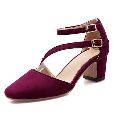 נעלי נשים-סנדלים-דמוי עור-עקבים / שפיץ ושני חלקים-שחור / כחול נייבי / בורגונדי-שמלה / קז'ואל-עקב עבה