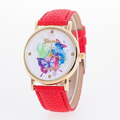 Damen Modeuhr Quartz Schlussverkauf Leder Band Schmetterling Weiß Blau Rot Orange Braun Grün Rosa Gelb