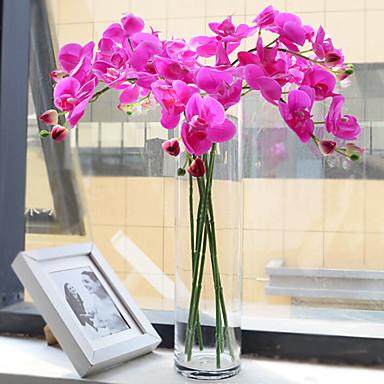 1pc חמישה ראשי המשי phalaenopsis פרחים מלאכותיים / סט