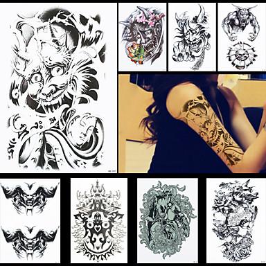 8pcs diable démon buddha affronter tatouage tatouage temporaire imperméable pour femmes hommes art corporel autocollants accessoires
