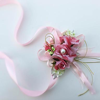 Bouquets de Noiva Atado à Mão Rosas Buquê de Pulso Casamento Festa / noite Algodão Seda