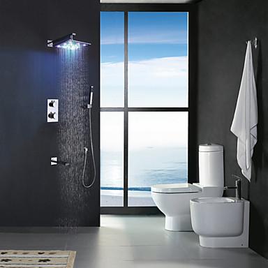 Moderne Vægmonteret Regndusj Hånddusj Inkludert Termostatisk LED Messing Ventil To Håndtak fem hull Krom , Dusjkran