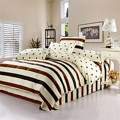 Bettbezug-Sets Streifen 4 Stück Baumwolle Reaktivdruck Baumwolle 1 Stk. Bettdeckenbezug 2 Stk. Kissenbezüge 1 Stk. Betttuch