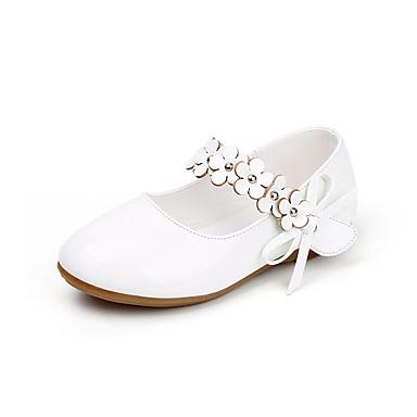 Jente sko Kunstlær Vår Høst Komfort Flate sko Appliqué Magisk teip til Bryllup Avslappet utendørs Fest/aften Formell Svart Hvit Gull