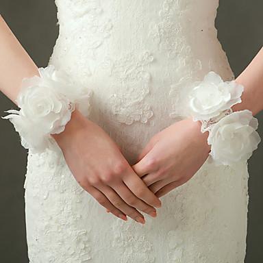 Handgelenk-Länge Ohne Finger Handschuh Nylon Elastischer Satin Brauthandschuhe Party / Abendhandschuhe Frühling Sommer Herbst Blumig