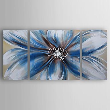 olajfestmény bule virágok meg a 3 kézzel festett vászon feszített keretes kész lógni