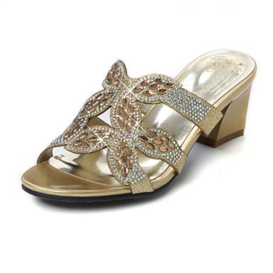 נעלי נשים-סנדלים-נצנצים-עקבים-שחור / זהב-חתונה / שמלה / קז'ואל / מסיבה וערב-עקב עבה