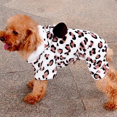 Hund Kapuzenshirts Hundekleidung warm halten Leopard Braun Kostüm Für Haustiere