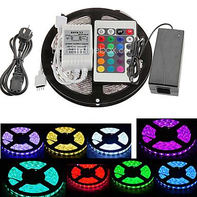 5m Faixas de Luzes RGB 300 LEDs 5050 SMD RGB Controlo Remoto / Cortável / Conetável 100-240 V / Auto-Adesivo / Cores Variáveis
