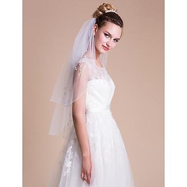 2 Strati Bordo In Perle Veli Da Sposa Velo Corto (ai Gomiti) Con Perline - Perle - Lustrini Tulle #03419458