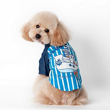 כלב טי שירט בגדים לכלבים פס כחול ורוד תחפושות עבור חיות מחמד