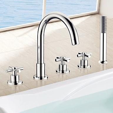 Badewannenarmaturen - Handdusche inklusive Chrom Romanische Wanne Drei Griffe Fünf Löcher