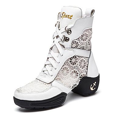Damen Tanz-Turnschuh Spitze Leder Stiefel Gespaltene Sole Im Freien Schnürsenkel Niedriger Heel Schwarz Weiß 1