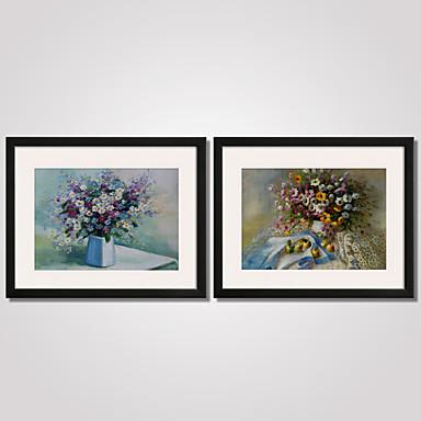 Blumenmuster/Botanisch Stillleben Freizeit Gerahmte Printkunst Gerahmtes Leinenbild Gerahmtes Set Wandkunst,PVC Stoff Mit Feld For Haus