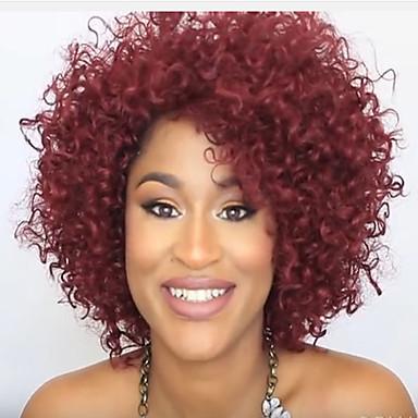 Cabelo Sintético perucas Encaracolado Sem Touca Curto Vermelho