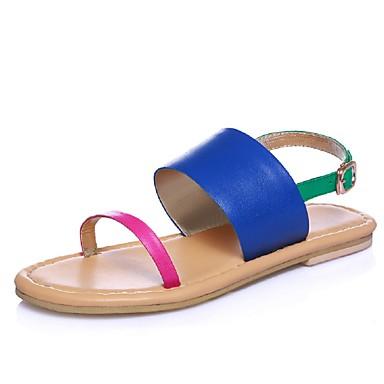 Damen Schuhe Kalb Haar Frühling Sommer Gladiator Flacher Absatz Für Normal Kleid Blau