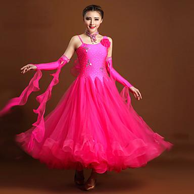 Für den Ballsaal Kleider Damen Leistung Elasthan Tüll Kristalle/ Strass Blume Ärmellos Normal Kleid Armbänder Neckwear