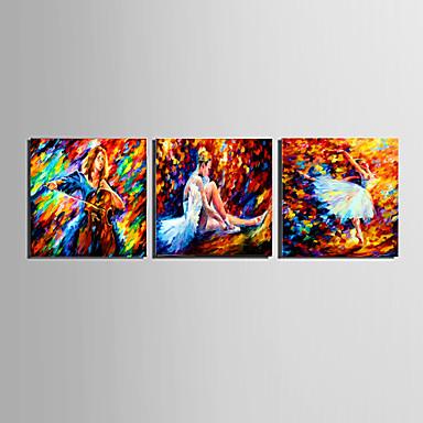 Absztrakt / Emberek Vászon nyomtatás Három elem Kész lógni,Négyzet