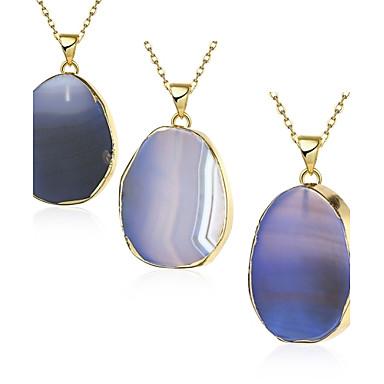 preiswerte Halsketten-Damen Kristall Mondstein Pendant Halskette Achat Kupfer vergoldet Blau Modische Halsketten Schmuck 1pc Für Party Alltag