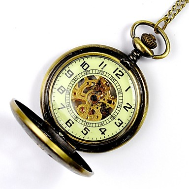 cheap Pocket Watches-Men's Skeleton Watch Pocket Watch Mechanical Watch Automatic self-winding Gold Hollow Engraving Analog Charm Steampunk