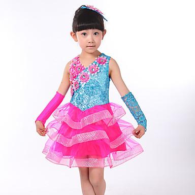 הופעות תלבושות בגדי ריקוד ילדים ביצועים ספנדקס 3 חלקים בלי שרוולים טבעי שמלה כפפות